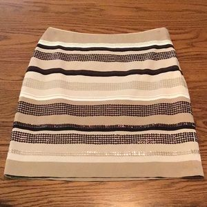 WHBM Striped Sequin Pencil Skirt
